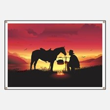 Cowboy and Horse at Sunset Banner