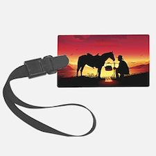 Cowboy and Horse at Sunset Luggage Tag