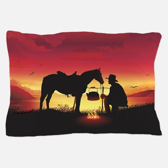 Cowboy and Horse at Sunset Pillow Case