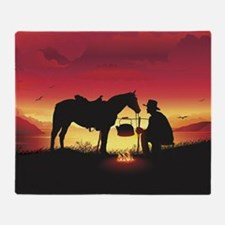 Cowboy and Horse at Sunset Throw Blanket