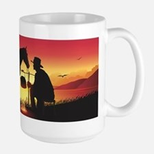 Cowboy and Horse at Sunset Large Mug