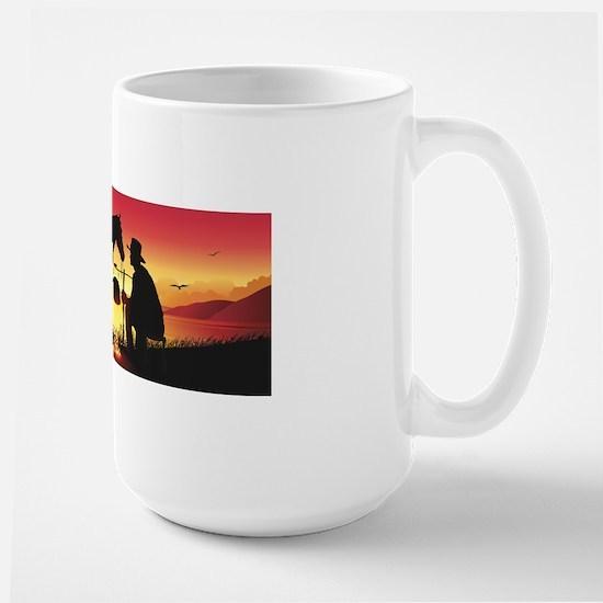Cowboy and Horse at Sunset Large Mug