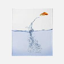 Jumping Gold Fish Throw Blanket