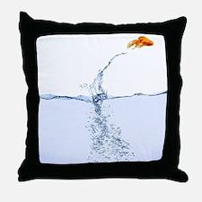 Jumping Gold Fish Throw Pillow