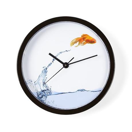Jumping gold fish wall clock by admin cp64763095 for Fish wall clock