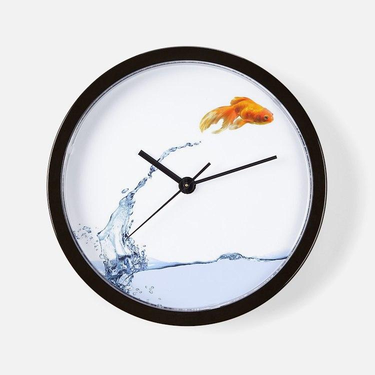 Jumping Gold Fish Wall Clock