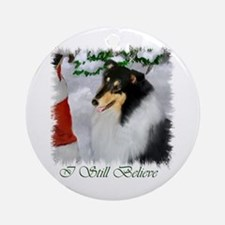 Tri-Color Collie Christmas Ornament (Round)