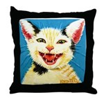 One Cat Laughing Throw Pillow