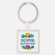 Daughters More Special Square Keychain