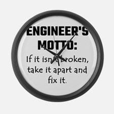 Engineer's Motto: If It Isn't Bro Large Wall Clock