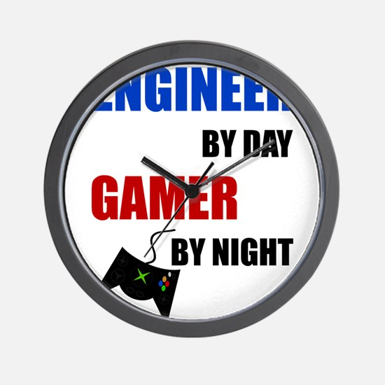 Engineer By Day Gamer By Night Wall Clock