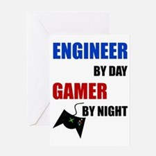 Engineer By Day Gamer By Night Greeting Cards