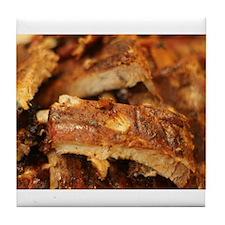 barbequed ribs close Tile Coaster