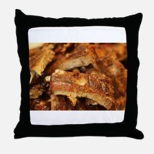 barbequed ribs close Throw Pillow