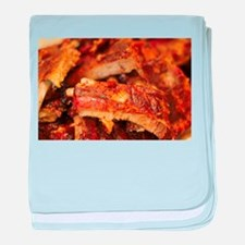 barbequed ribs close baby blanket