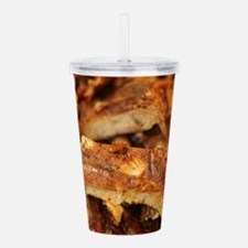 barbequed ribs close Acrylic Double-wall Tumbler