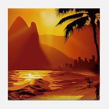Copacabana Beach Tile Coaster
