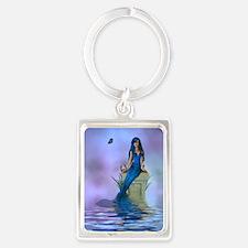 Blue Mermaid Portrait Keychain