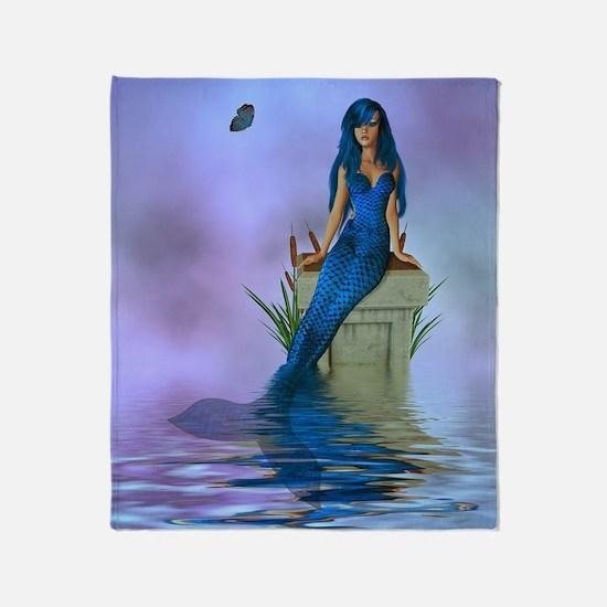 Blue Mermaid Throw Blanket