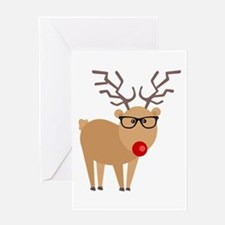Hipster Rudolph Reindeer Cute Holiday Art Greeting