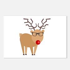 Hipster Rudolph Reindeer Cute Holiday Art Postcard