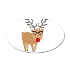 Hipster Rudolph Reindeer Cute Holiday Art Wall Dec