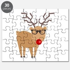 Hipster Rudolph Reindeer Cute Holiday Art Puzzle