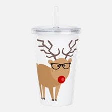 Hipster Rudolph Reindeer Cute Holiday Art Acrylic