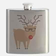 Hipster Rudolph Reindeer Cute Holiday Art Flask