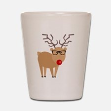 Hipster Rudolph Reindeer Cute Holiday Art Shot Gla