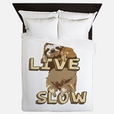 Funny Sloth - LIVE SLOW Queen Duvet