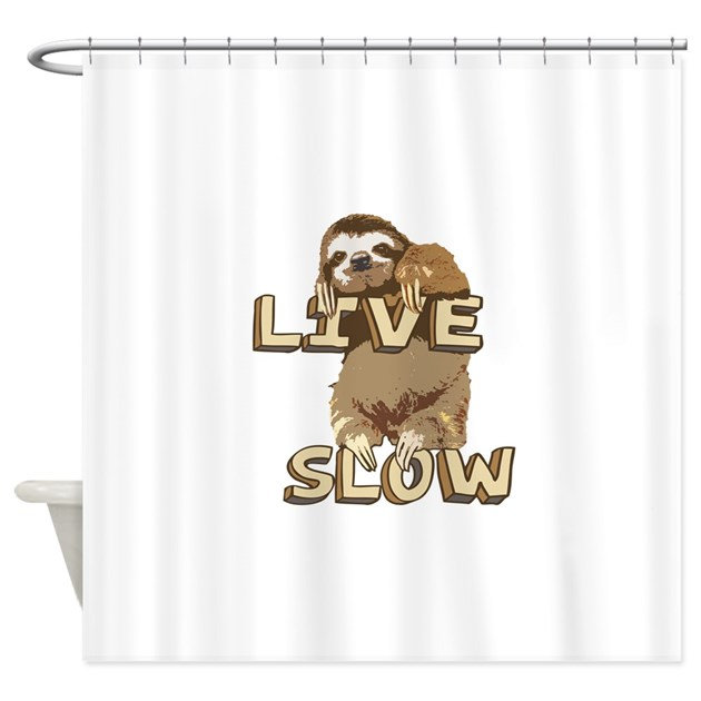 Funny sloth live slow shower curtain by robotface for Sloth kong shower curtain