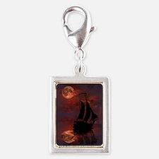 Full Moon Sail Ship Silver Portrait Charm