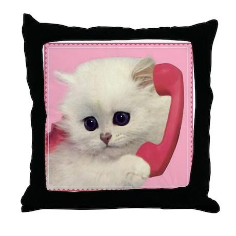 Phone Kitty Throw Pillow