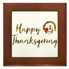 happy thanksgiving bokeh Framed Tile