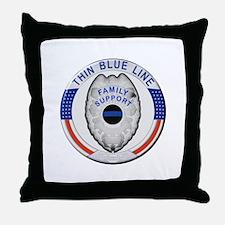 Family Thin Blue Line Throw Pillow