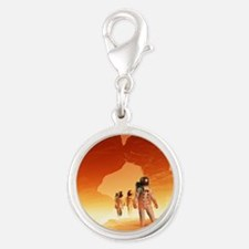 Mars Explorers Silver Round Charm