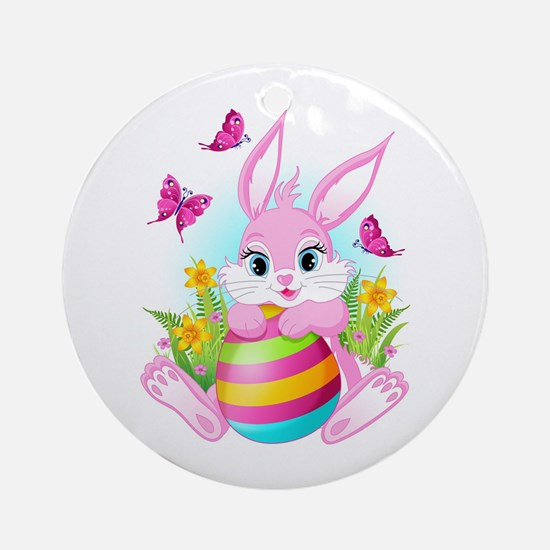 Pink Easter Bunny Round Ornament