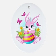 Pink Easter Bunny Oval Ornament