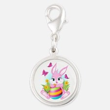 Pink Easter Bunny Silver Round Charm