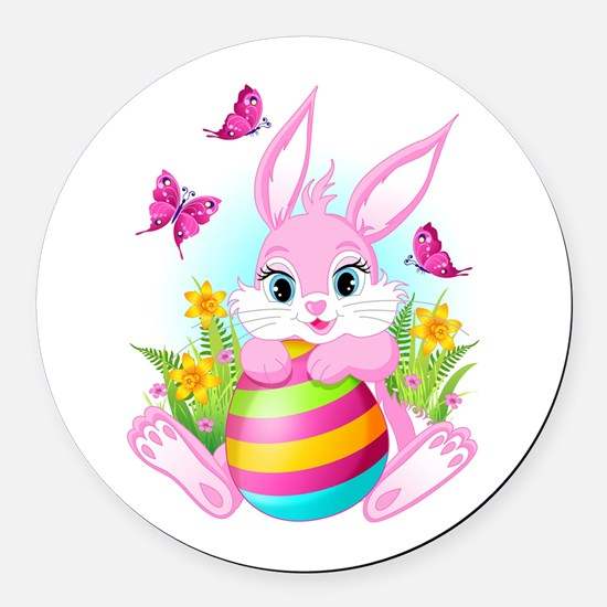 Pink Easter Bunny Round Car Magnet