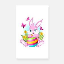 Pink Easter Bunny Rectangle Car Magnet