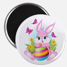 Pink Easter Bunny Magnet