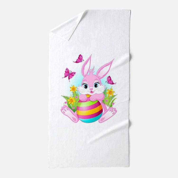 Pink Easter Bunny Beach Towel