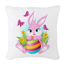 Pink Easter Bunny Woven Throw Pillow