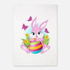 Pink Easter Bunny 5'x7'Area Rug