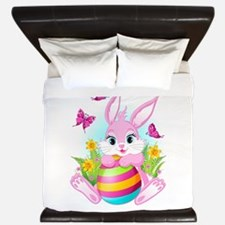 Pink Easter Bunny King Duvet