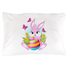 Pink Easter Bunny Pillow Case