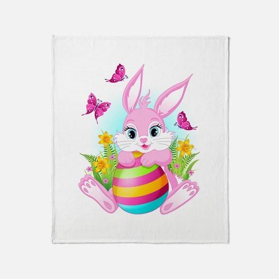 Pink Easter Bunny Throw Blanket