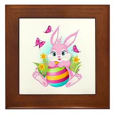 Pink Easter Bunny Framed Tile